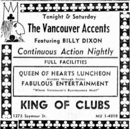 The Vancouver Accents at The King of Clubs - Advertisement Clipping Courtesy of Cory Steuart