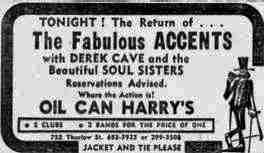 The Vancouver Accents at Oil Can Harry's - Advertisement Clipping Courtesy of Cory Steuart