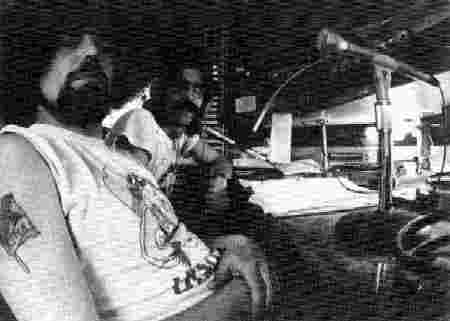 Richard Walsh and Carl Cook doing a radio show at KAOS-FM at Evergreen State College, about 1974